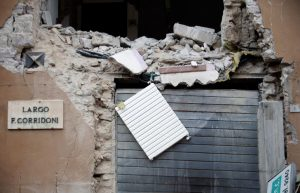 A collapsed building is seen after an earthquake in Visso, central Italy, October 27, 2016. REUTERS/Max Rossi