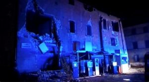 Still image from video shows damaged building after an earthquake in Visso, Italy October 26, 2016. REUTERS/Reuters Tv TPX IMAGES OF THE DAY