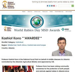 Fiton çmim botëror, profesor Kastriot Korro: Ja lufta që po bëhet në Shqipëri ndaj sëmundjes së tërbimit