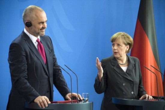 German Chancellor Angela Merkel (R) speaks next to Albanian prime minister Edi Rama during their press conference following their meeting at the Chancellery in Berlin on April 1, 2014.   AFP PHOTO / ODD ANDERSEN        (Photo credit should read ODD ANDERSEN/AFP/Getty Images)