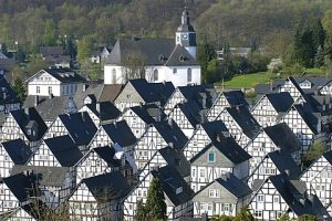 Half-timbered houses at the historic city center of Freudenberg, Lahn valley, North Rhine-Westphalia, Germany, Europe