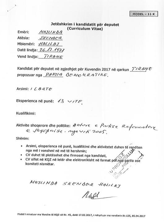 CV e Majlinda Halilajt