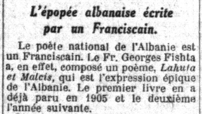 La Croix  1930    Lahuta e Malcis  e Fishtës  rrëfen epopenë shqiptare