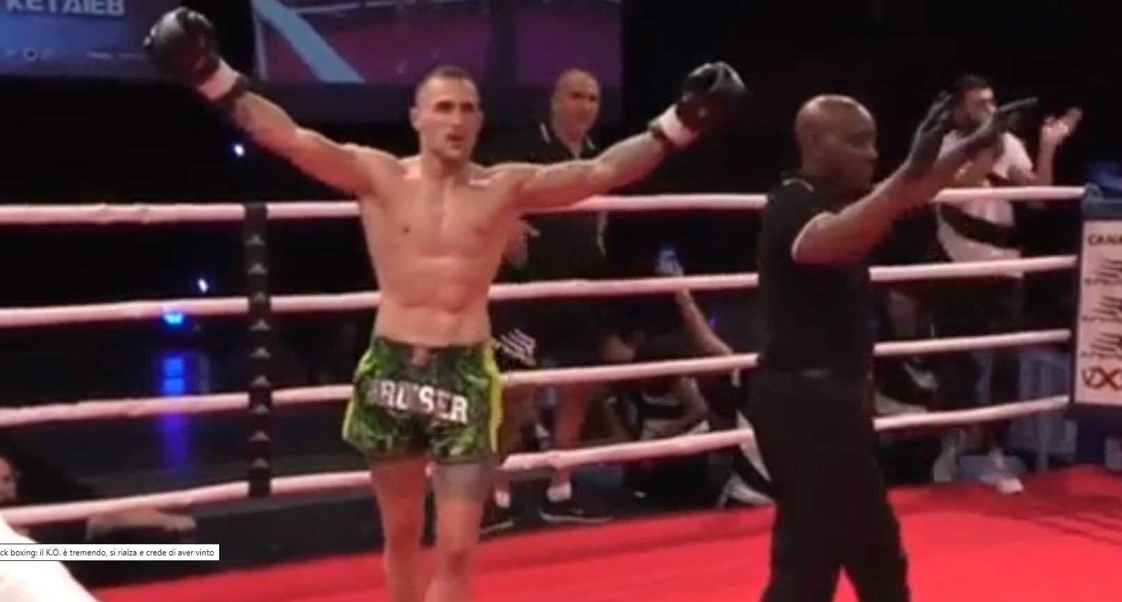 Knock out   sportisti ngrihet në këmbë dhe mendon se ka fituar